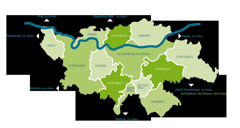 Die Orte im Bayerischen Donautal & Klosterwinkel