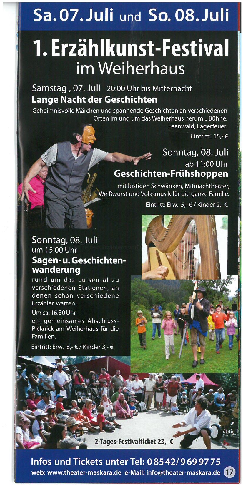 1. Erzählkunst-Festival im Weiherhaus